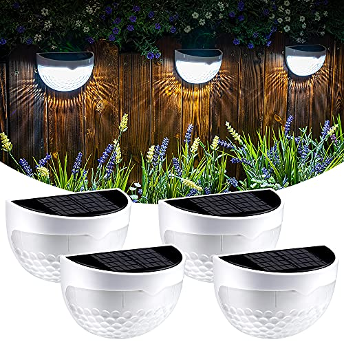 GIGALUMI Solar Fence Post Lights, 4 Pack Deck Lights Outdoor Waterproof Fence Lighting for Fence Deck Step Stair Post Wall (White)