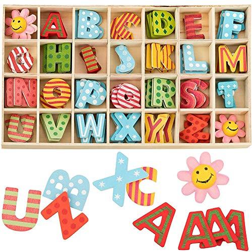 108 Pezzi Colorato Wooden Letters Fiori Set Lettere Maiuscole in Legno Lettere A-Z with Storage Tray in Legno Naturale Liscio Colorato per DIY Artigianato Scuola Decorazione