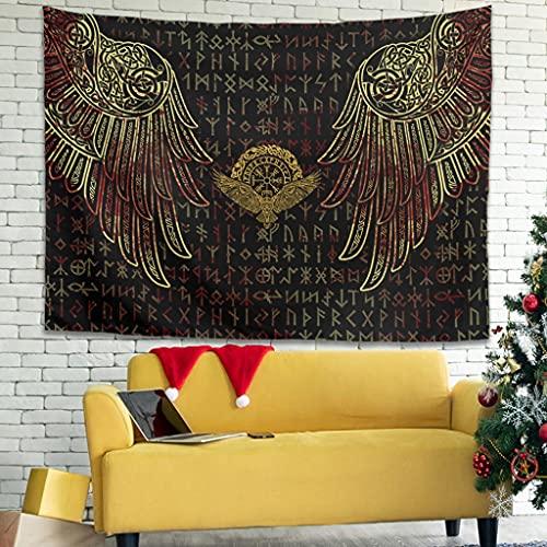 Wandlovers Tapiz de pared tradicional vikingo indio con cuervo de Odin Vegvisir con nudos celtas Fathurk Tapiz de pared tradicional Gobelin Tapiz decorativo para sofá blanco 3 150 x 130 cm