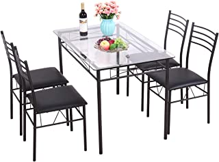 Black 5 Piece Dining Table Set Tempered Glass Top Table w/ 4 Upholstered Chairs Kitchen Furniture