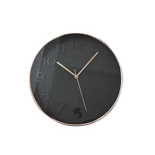 THE HOME DECO FACTORY HD3304 Horloge Ronde PP Noir/Cuivre 30,70 x 4,50 x 30,70 cm