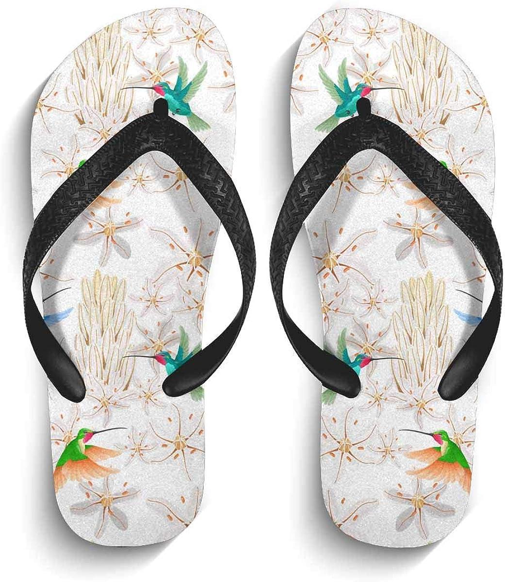 INTERESTPRINT Men's Non-Slip Flip Flop Slippers Hummingbird and African White Flowers Beach Thong Sandal