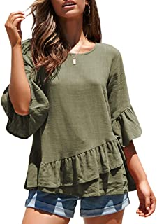 MIROL Women's Spring Half Sleeve Solid Color Ruffle Hem Tunic Shirt Blouse Tops