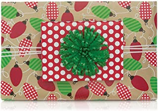 Reversible Vintage Lights Polka Dots Christmas Gift Wrap Wrapping Paper - 15 Foot Roll