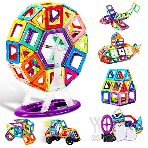 ATCRINICT 106pcs Edificio magnético del Castillo Bloques con construcción de Letras y números Azulejos magnéticos Juguetes para niños de 3 4 5 6 7 años Regalos para niñas