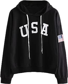 Women's Hoodie Letter Print Long Sleeve Hooded Sweatshirt Pullover Top