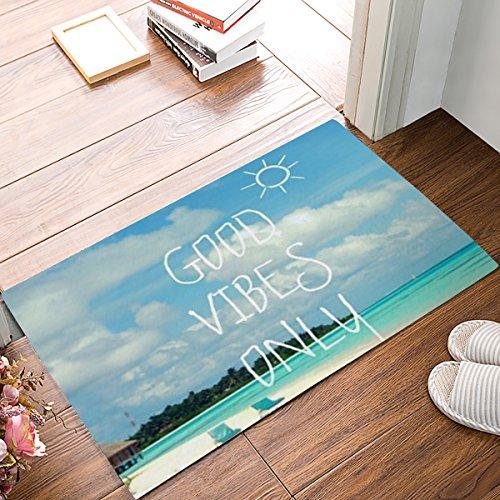 CHARMHOME Blue Sea Beach with Funny Good Vibes Only Quotes Doormats Entrance Mat Floor Mat Door Indoor/Front Door/Bathroom/Kitchen Mats Rubber Non Slip
