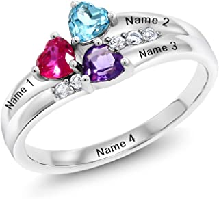 Gem Stone King Sterling Silver Engagement Ring Promise Ring Customized & Personalized 3 Birthstone Build Your Own Forever United For Her Heart Shape Ring (Available in size 5,6,7,8,9)