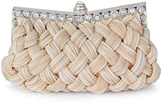 Pleated and Braided Rhinestone Evening Bag Clutch Purse Evening Clutch for Bridal Bridesmaid