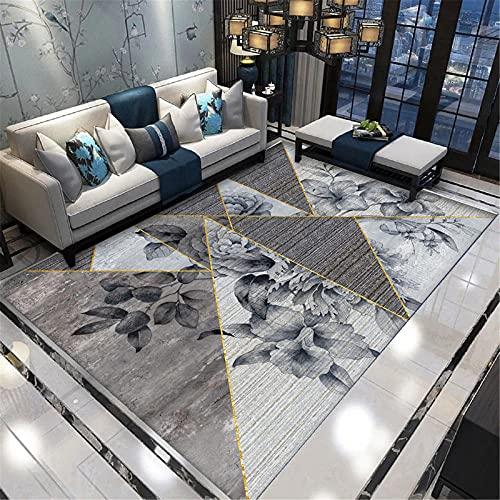 IRCATH Gris triángulo geométrico Floral patrón 3D impresión y teñido Resistente al Desgaste antiincrustante Sala de Estudio salón Mesa de Centro Decorativa alfombra-120x160cm Decoración del hogar par