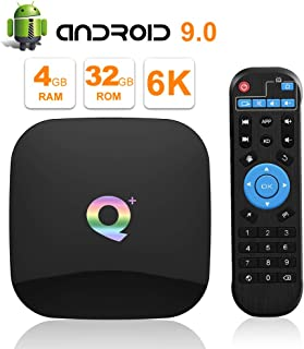 2019 Q PLUS Android 9.0 TV Box 4GB RAM 32GB ROM Wifi 2.4GHz Quad-core cortex-A53 HDMI 2.0 Support 6K 3D/H.265