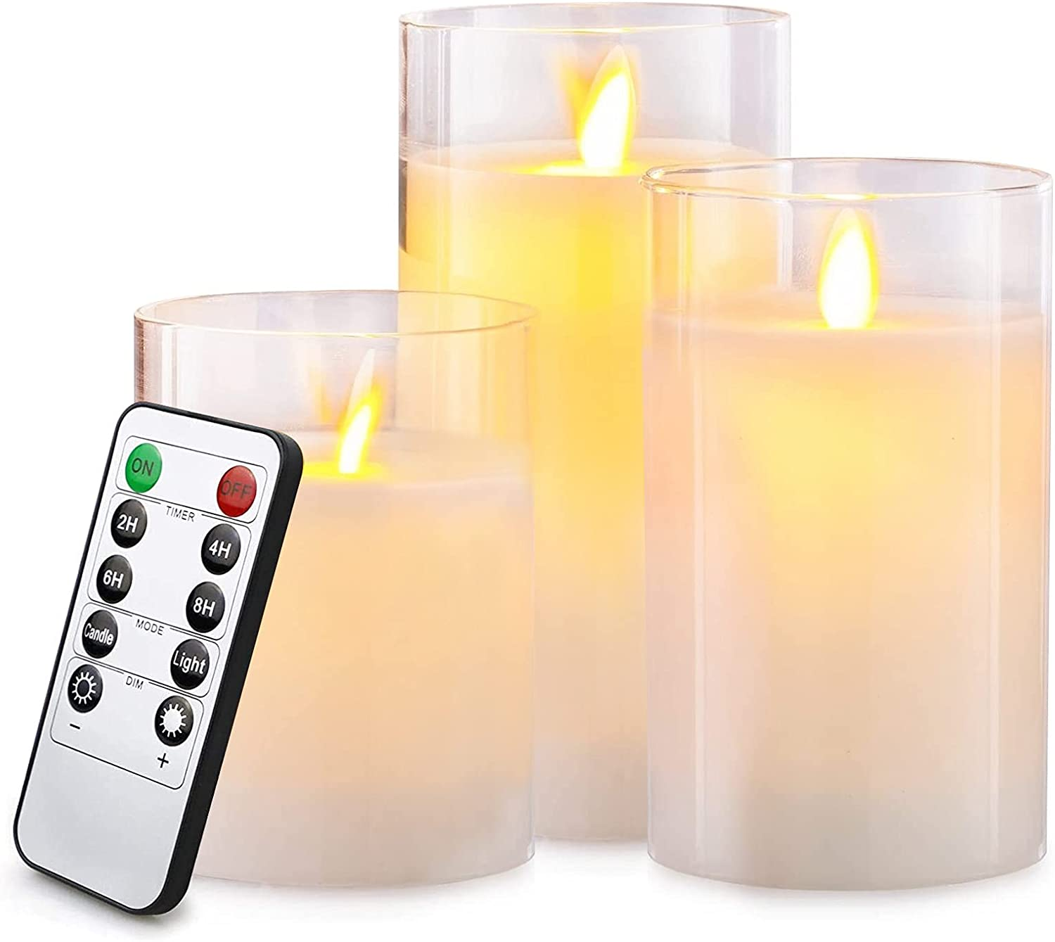 """Lezonic Glass LED Flameless Candles Battery Operated with Flickering Moving Wicks, Pack of 3 (D 3""""×H 4""""5""""6"""") White Real Wax Pillar Candles with Remote and Timer for Home Decor Fireplace Halloween"""