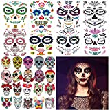 32 Day of the Dead Face Sugar Skull Tattoos,Sheets Including 8 Large Sheets Halloween Temporary Face Tattoos, Halloween Sugar Skull Temporary Face Tattoos for Men and Women