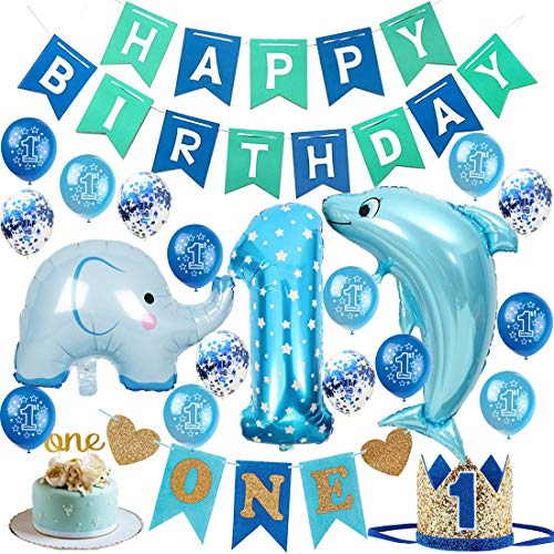 1st Baby Boy Birthday Decorations Kit - First Birthday Party Decorations Supplies Blue Happy Birthday Banner, High Chair ONE Banner, Number 1 Crown, Glitter Cake Topper