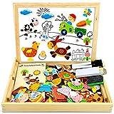COOLJOY 100 PCS Puzzles de Madera Magnético, Puzzles Rompecabezas Magnéticos de Madera, Tablero de Dibujo de Doble Cara Juguete Educativo para Niños Niñas Mayores de 3 Años con Funda de Tiza