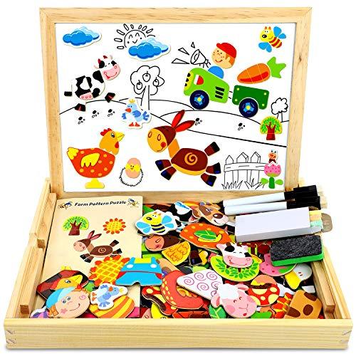 COOLJOY Puzzle Magnetico Legno, Giocattolo di Legno Bambini Regalo con Lavagna Double Face, Apprendimento Educativo Puzzle Magn