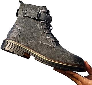 Chaussures British Wild Style Chaussures en Cuir Printemps Automne Hommes Haut-Top Chaussures randonnée en Plein air Botte...
