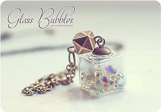 Collana di vetro cubo, collana di bolle, collana di bottiglia di vetro, collana di vetro, pendente di bottiglia, collana d...