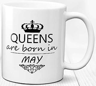 Taza de café Reina nacida en mayo Regalo de cumpleaños Taza de té de cerámica de 330 ml Regalo personalizado