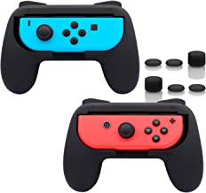 FastSnail Grips for Nintendo Switch Joy-Con, Wear-Resistant Handle Kit for Switch Joy Cons Controllers, 2 Pack (Black)