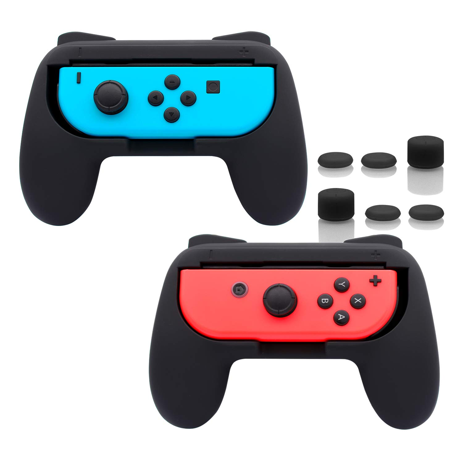 FASTSNAIL Grips Compatible with Nintendo Switch for Joy Con & OLED Model for Joycon, Wear-Resistant Handle Kit Compatible with Joy Cons Controllers, 2 Pack(Black)
