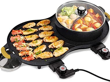 All-in-one Cookware Pan Electric BBQ,Multi-Function Grill Cookers Non-Stick Hot Pot Appliance, Korean Style Electric Grill Griddle,Home Electricity Oven Electric Grill Barbecue 110-240V