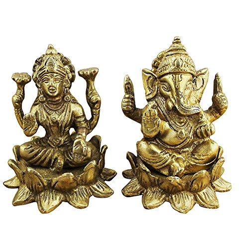 Religiöse dekorationen indischen gott ganesha und göttin lakshmi figur satz messingstatue - 7,9 x 6,4 x 6,4 cm
