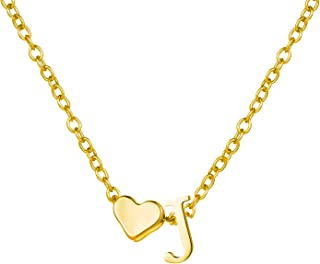 Gold Heart Initial Necklaces for Women 14K Gold Plated Pendant Necklace Tiny Initial Alphabet Monogram Necklace Christmas Gift Necklace for Women Girls