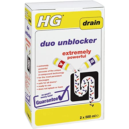HG 343100106 Duo Unblocker 1L - Extremely Powerful by Unique 2-component Technology - For Unblocking Persistent Blockages in Drains