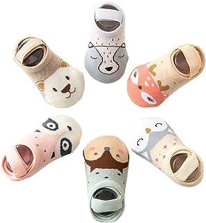 Z-Chen Pack de 6 Pares Calcetines Invisibles para Bebé Niño - Antideslizante, 3-5 Años