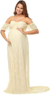 JustVH Maternity Off Shoulder Ruffle Sleeve Lace Wedding Gown Maxi Photography Dress for Photo Shoot Dress
