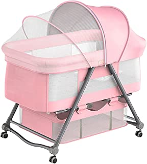Baby Bassinets Bedside Crib 3 in 1 Travel Crib Baby Bed with Breathable Net,Bedside Sleeper,Adjustable Portable Bedside Co...