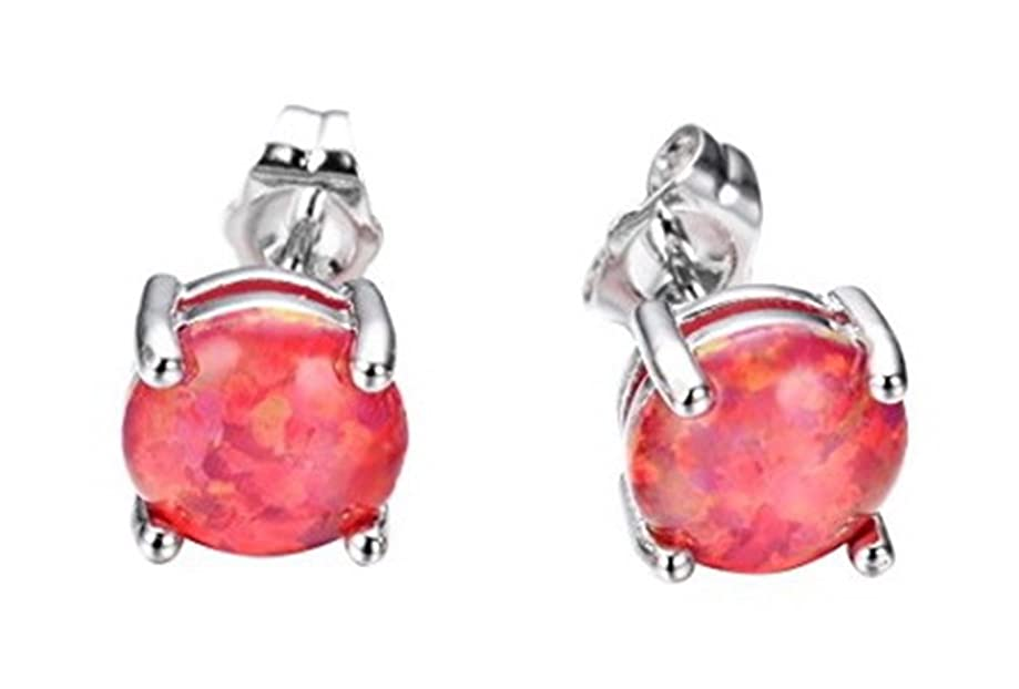Fortonatori Created Ruby Opal Earrings Stud Silver 925 Round Ball 0.29 inches (7.5mm)