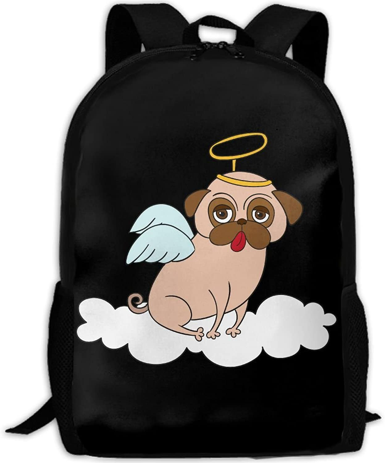 b69e13a6fe25 Adult Backpack Pug College Daypack Oxford Bag Unisex Travel Sports ...