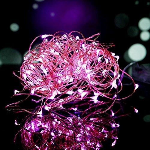 Preisvergleich Produktbild 100er LED Lichterkette Rosa Innen für Weihnachten Hochzeit Zimmer Beleuchtung