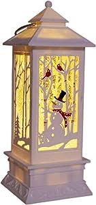 XCXDX Lanterna di Natale Pupazzo di Neve, Luce Notturna A Batteria, Luce di Neve Rotante in Resina, Bianco Caldo
