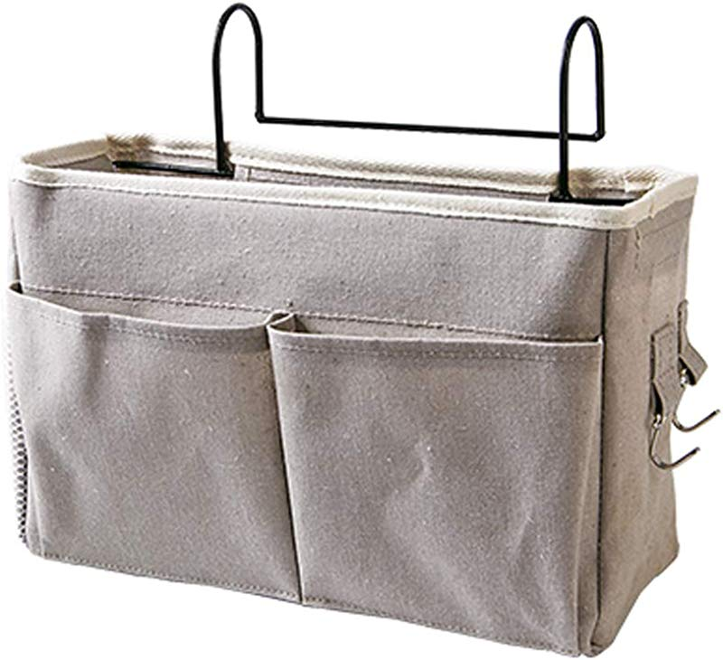 Frjjthchy Bedside Hanging Storage Basket Multi Function Organizer Caddy For Headboards Bunk Beds Hospital Bed Dorm Rooms With Pocket Grey