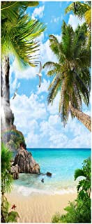 Sticker Porte Autocollants Imperméables Autocollants De Porte Plage Vue Sur La Mer 3D Papier Peint Bricolage Salon Porte D...