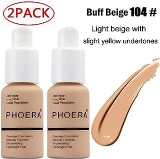 2 Pack Phoera foundation, Brighten Highlighting Matte Oil Control Concealer Facial Blemish Concealer Color Changing Foundation for Women Girls,104 Buff Beige-30ml