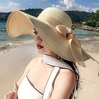 Hat Straw hat Summer Wide Brim Sun Hat Floppy Wide Brim Bowknot Beach Hat Sun hat Panama hat (Color : Blue, Size : One Size) (Color : Brown, Size : One Size)