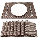 SueH Design Lot de 8 Sets de Table 45 * 30 CM Vinyle Tissé Or