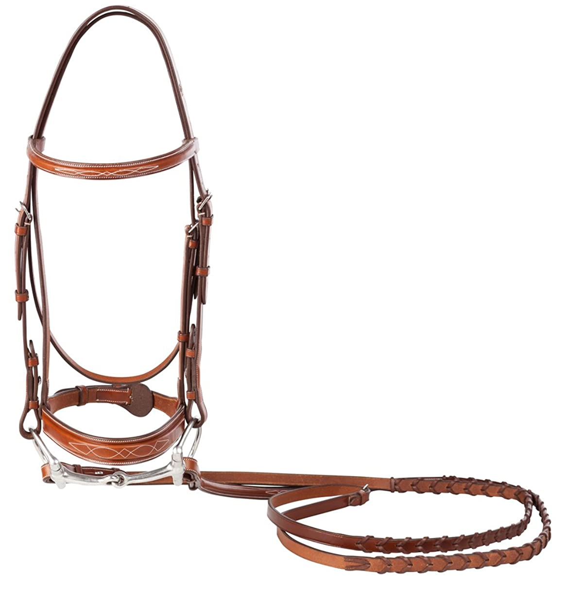 Huntley Equestrian Fancy Stitched Sedgwick Leather English Bridle and Reins