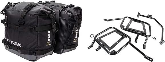 Tusk PILOT heavy duty dual sport adventure saddlebags with Tusk pannier racks - Fits: SUZUKI DR650 1996–2019