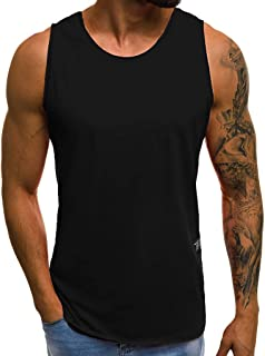 WUAI-Men Gym Workout Stringer Tank Tops Plus Size Bodybuilding Fitness Muscle Tops Sleeveless Vest