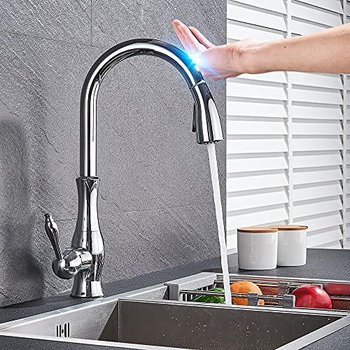 Grifo de la cocina Golden Smart Touch en el sensor del grifo de la cocina Rotación 360 Extraíble Grifo mezclador de una sola manija Dos modos de agua Grúa del fregadero Caliente Frío