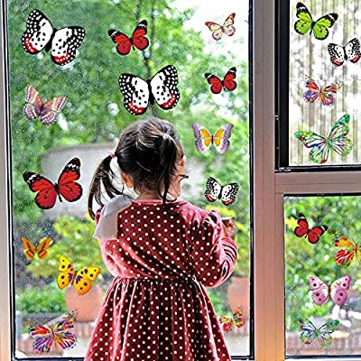 PARLAIM 28 Pieces Butterfly Window Clings Window Glass Non Adhesive Vinyl Cling Butterfly Stickers Cling Decor Window Stickers in Different Styles Full of Childishness