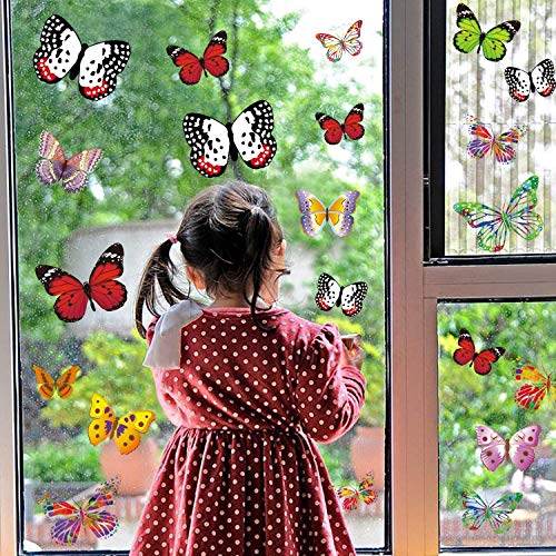 PARLAIM 28 Pieces Butterfly Window Clings Anti-Collision Window Glass Non Adhesive Vinyl Cling Butterfly Stickers Cling Decor Window Stickers in Different Styles Full of Childishness