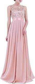 ACSUSS Women's Crochet Lace Chiffon Wedding Bridesmaid Evening Gown Prom Maxi Dress