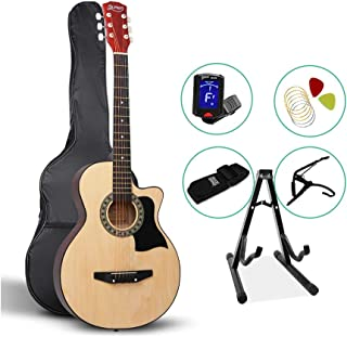 38 Inch Acoustic Guitar Wooden Folk Classical Natural Cutaway Strings Carry Bag Tuner Capo Shoulder Strap Picks ALPHA