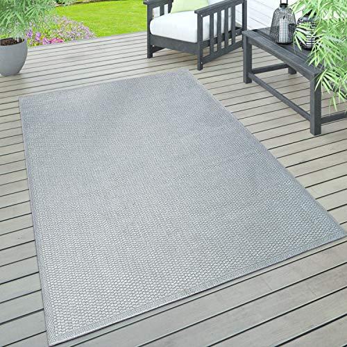 Paco Home In- & Outdoor Teppich, Terrasse u. Balkon, Wetterfest Einfarbig Mit Struktur, Grösse:140x200 cm, Farbe:Grau